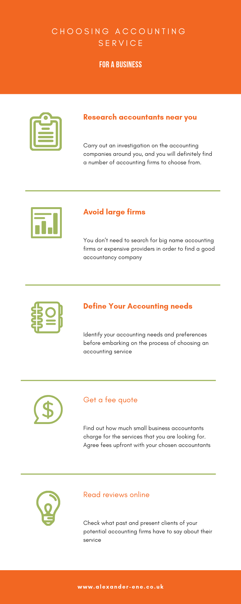 Accounting service for a business